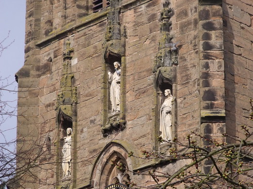 St Nicholas Church - Kings Norton - statues on the spire | by ell brown
