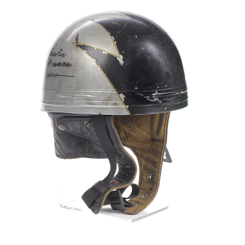 A Charlie Freeman signed pudding-basin race helmet, by Cro ...