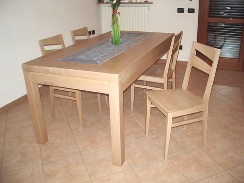 14 tavolo e sedie disegno moderno in legno rovere sbian for Poli arredamenti