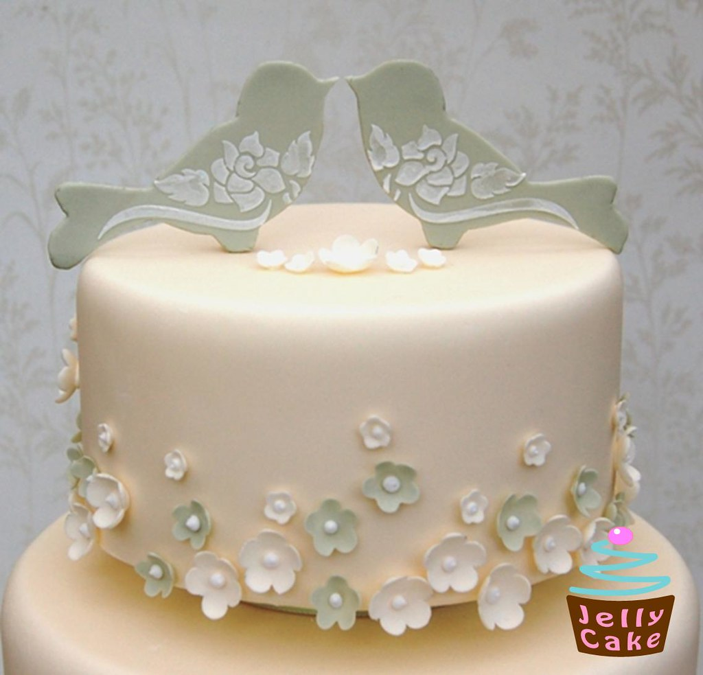 Love Birds and Blossoms Wedding Cake   A sage green and ivor…   Flickr