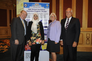 Dr. Ed Graget, Executive Director of iEARN-USA (L) with Amal Al-Randi, Kuwait Program Coordinator, Deborah Hart-Serafini, U.S. Embassy MEPI Coordinator, Mr. Serafini. | by iEARN-USA