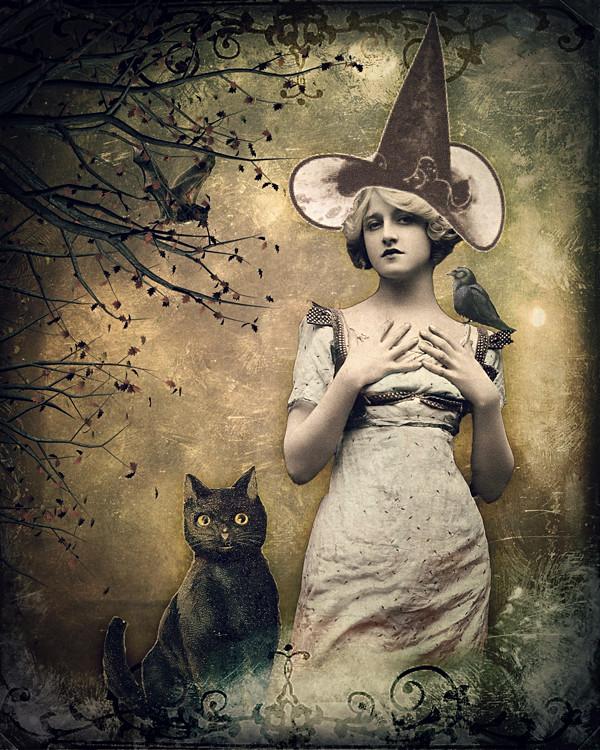 a witch and her cat digital collage made using vintage