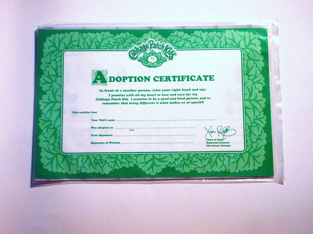 cabbage patch kids adoption certificate by cruioso