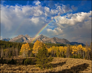 Rainbow in the Autumn Sawtooths Mountains of Idaho | by The Knowles Gallery
