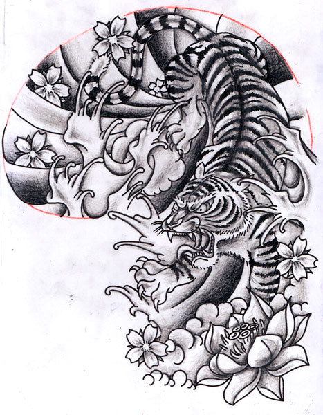 Half Tiger Lion Drawing Sleeve Design