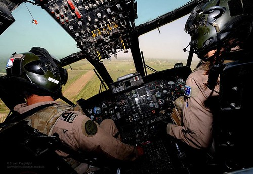 Royal Navy SeaKing Helicopter Cockpit During Flying Operations Over Afghanistan | by Defence Images
