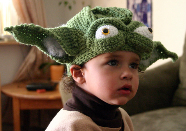 Hand crocheted Yoda Hat My 3.5 yr old son in his mama croc ...