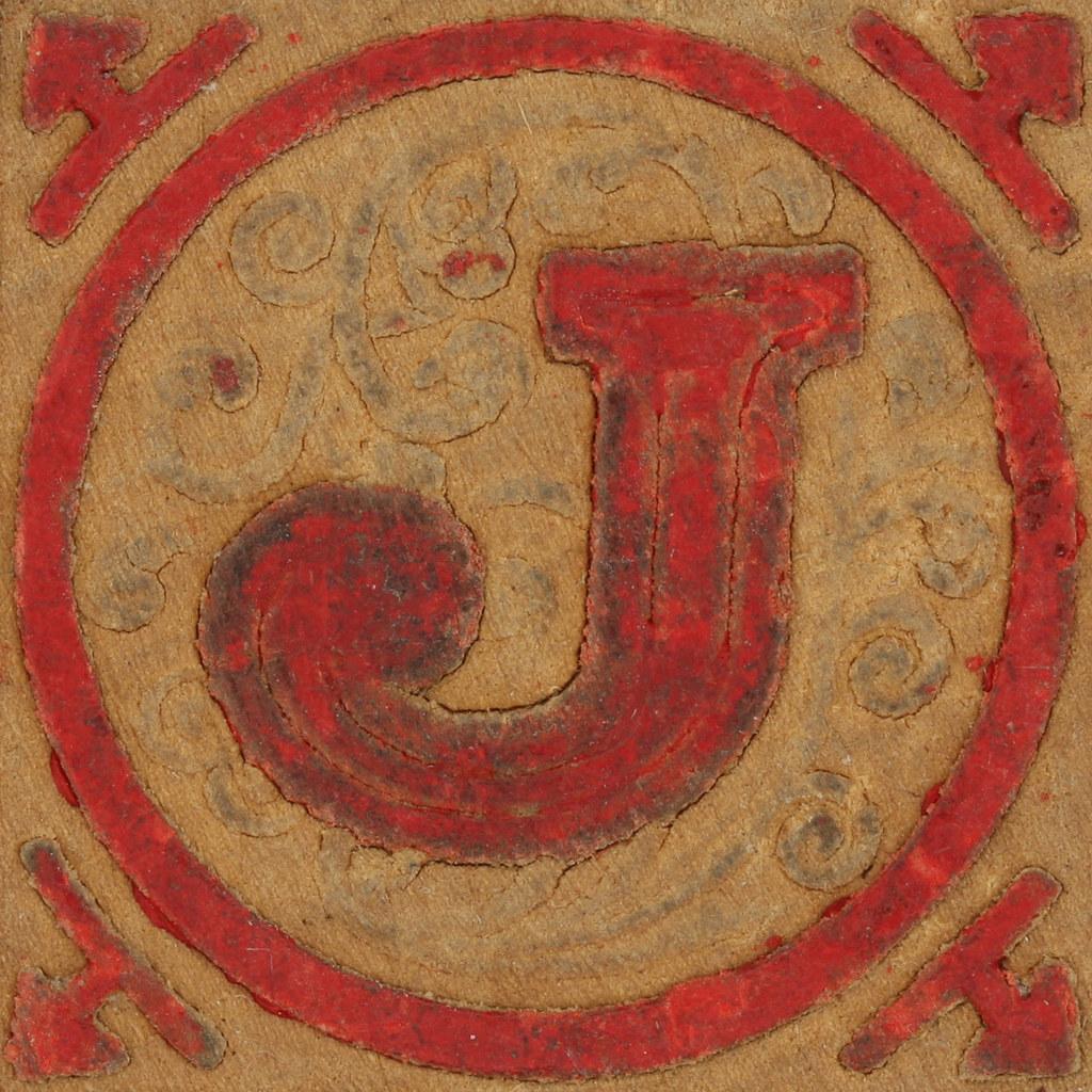 Vintage Wooden Block Letter J Leo Reynolds
