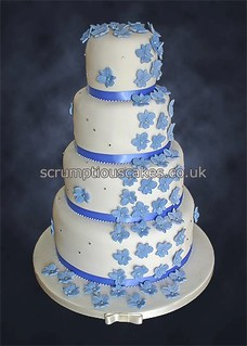 Wedding Cake (799) - Cornflower Blue Orchid Cascade | by Scrumptious Cakes by Paula-Jane