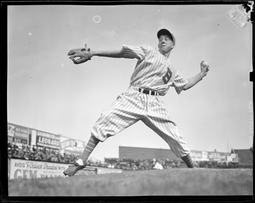 Bees pitcher works from mound, Braves Field | by Boston Public Library