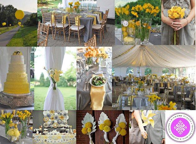 Yellow & Gray Wedding Color Theme | Yellow, gray and touches… | Flickr