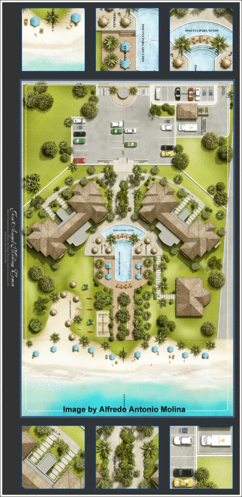 2d landscape architecture rendering realistic and colorful for 2d design online