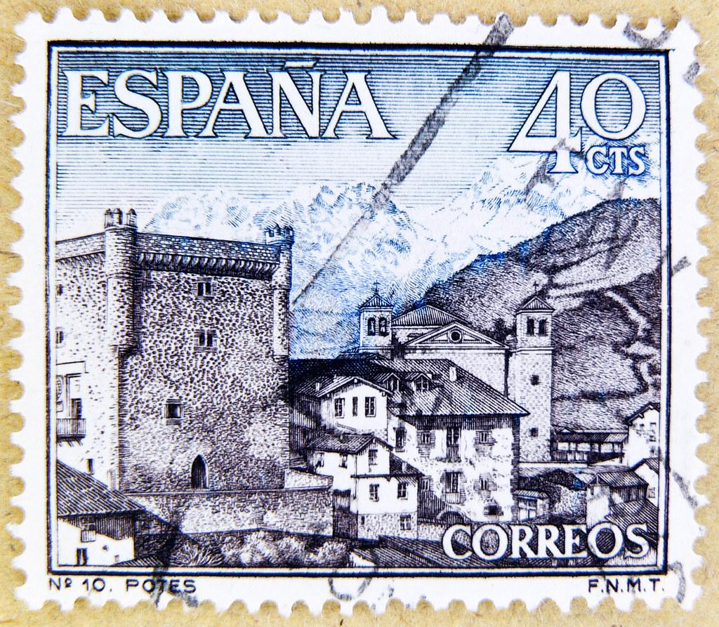 Beautiful Stamp Spain 40 Cts Potes Cantabria Santander Sello Espana