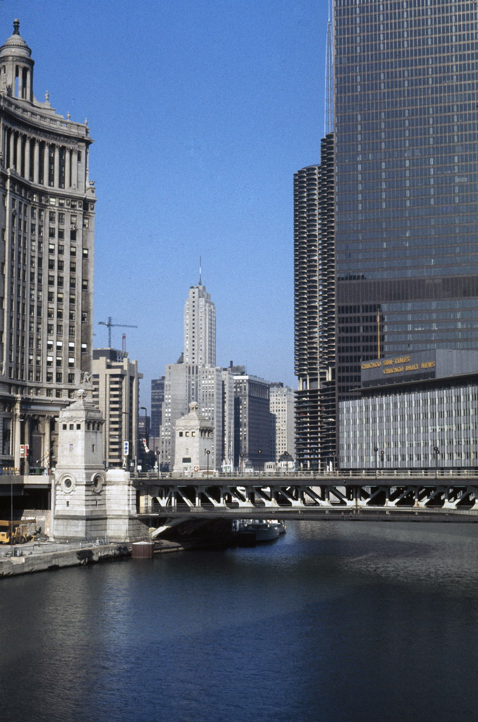 Chicago High Fashion Editorial: High-rise Buildings Along Chicago River