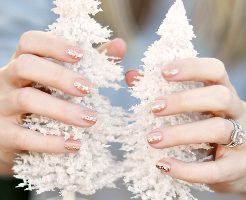 nude nails with gold glitter - white christmas trees | by ...love Maegan