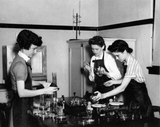 Florida State College for Women students experimenting in the chemical lab: Tallahassee, Florida | by State Library and Archives of Florida