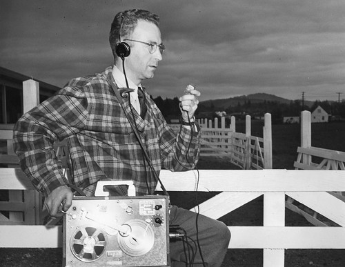 Bill Smith of KOAC with portable tape recorder | by OSU Special Collections & Archives : Commons