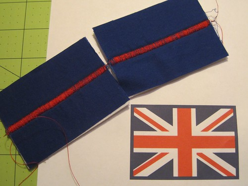 Union Jack Patches made using a zig-zag stitch. | by Jennifer Ofenstein (sewhooked.com)