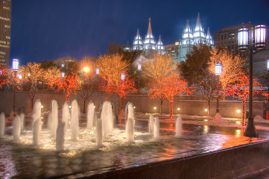 Christmas In Salt Lake City Mormon Temple In Downtown