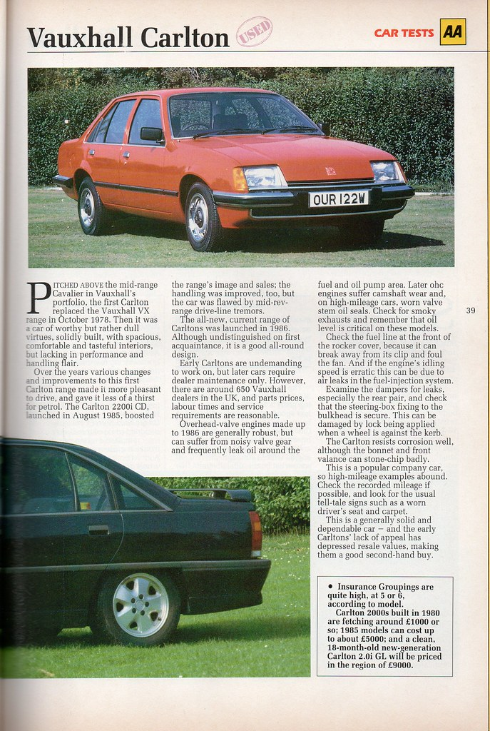 Vauxhall Carlton used car report | Scanned from AA Car Tests… | Flickr