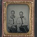 [Two unidentified soldiers in Confederate battle shirts] (LOC)