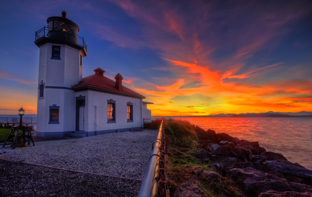 Alki Point Lighthouse Sunset Www