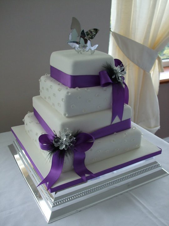 Purple Wedding Cakes With Bling