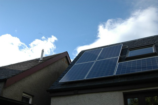 solar panels on top of the roof for ecofriendly roofing