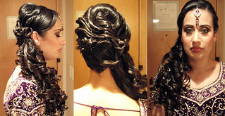 indian-bridal-hairstyle-side-ponytail | by vanmobilehair