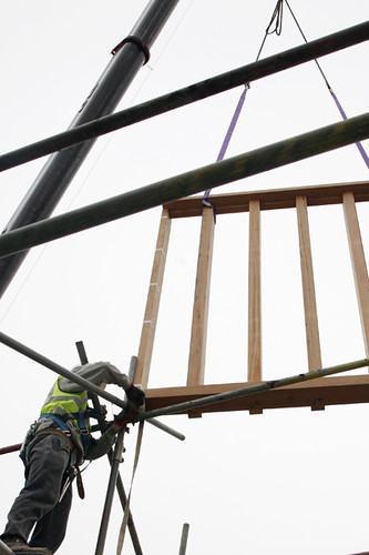 Window frame being lifted into the building | by The Photographers' Gallery