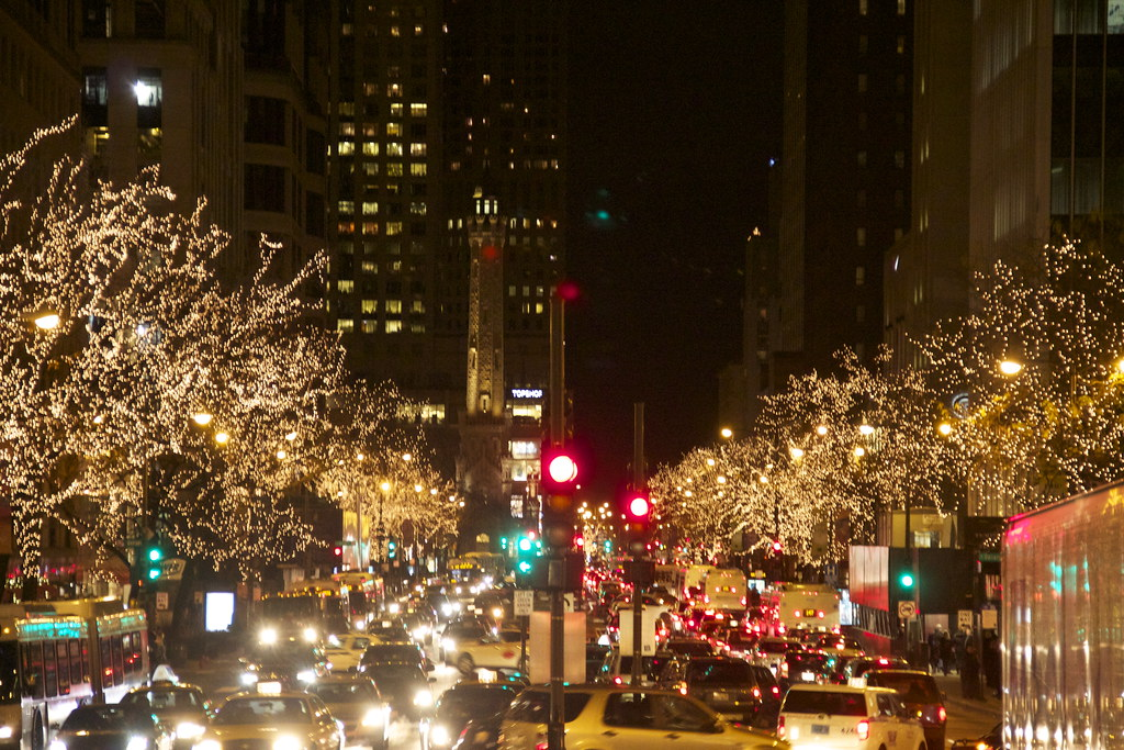 Michigan Avenue At Night In Christmas Season Daniel X O