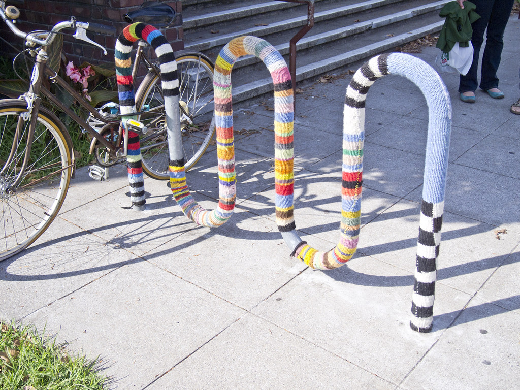 yarn bomb of bike rack