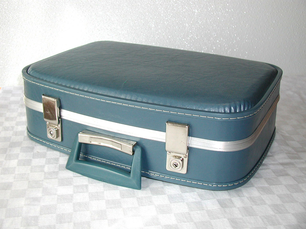 Small blue vintage suitcase i just love these suitcases - Vintage suitcase ...