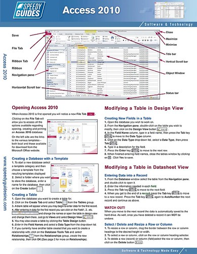 Microsoft access 2010 laminated quick reference guide che for Table design view in access 2010