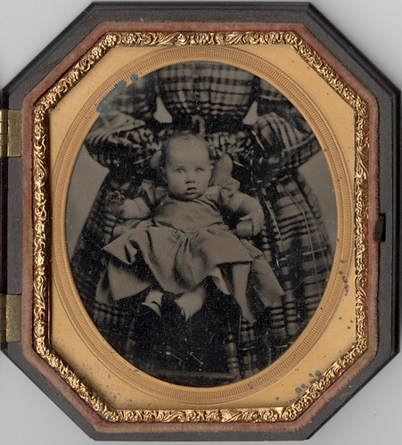 "An Ambrotype of a Baby with a ""Hidden Mother"" with a Tiny Waist 