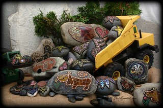 """The Job Site"" Mosaics on Rock / Garden Stones 