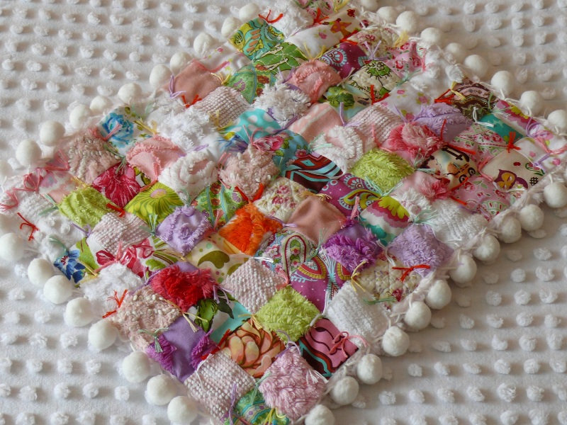 Vintage Chenille Designer Fabric Baby/Doll Quilt with Pom-… | Flickr : designer baby quilts - Adamdwight.com