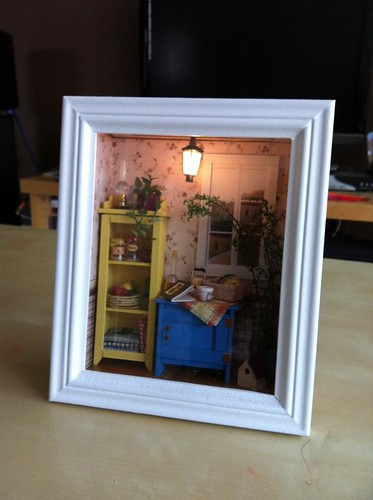 House isnt this sweet my husband made this from a kit i Miniature room boxes interior design