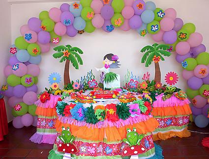 Decoraci n hawaiana organizamos tus eventos estando a la - Decoracion de mesa de cumpleanos ...