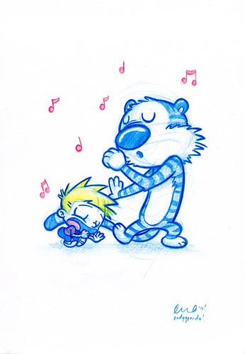 Blue Doodle #23: Calvin and Hobbes! get their Karaoke on | by PodgyPanda