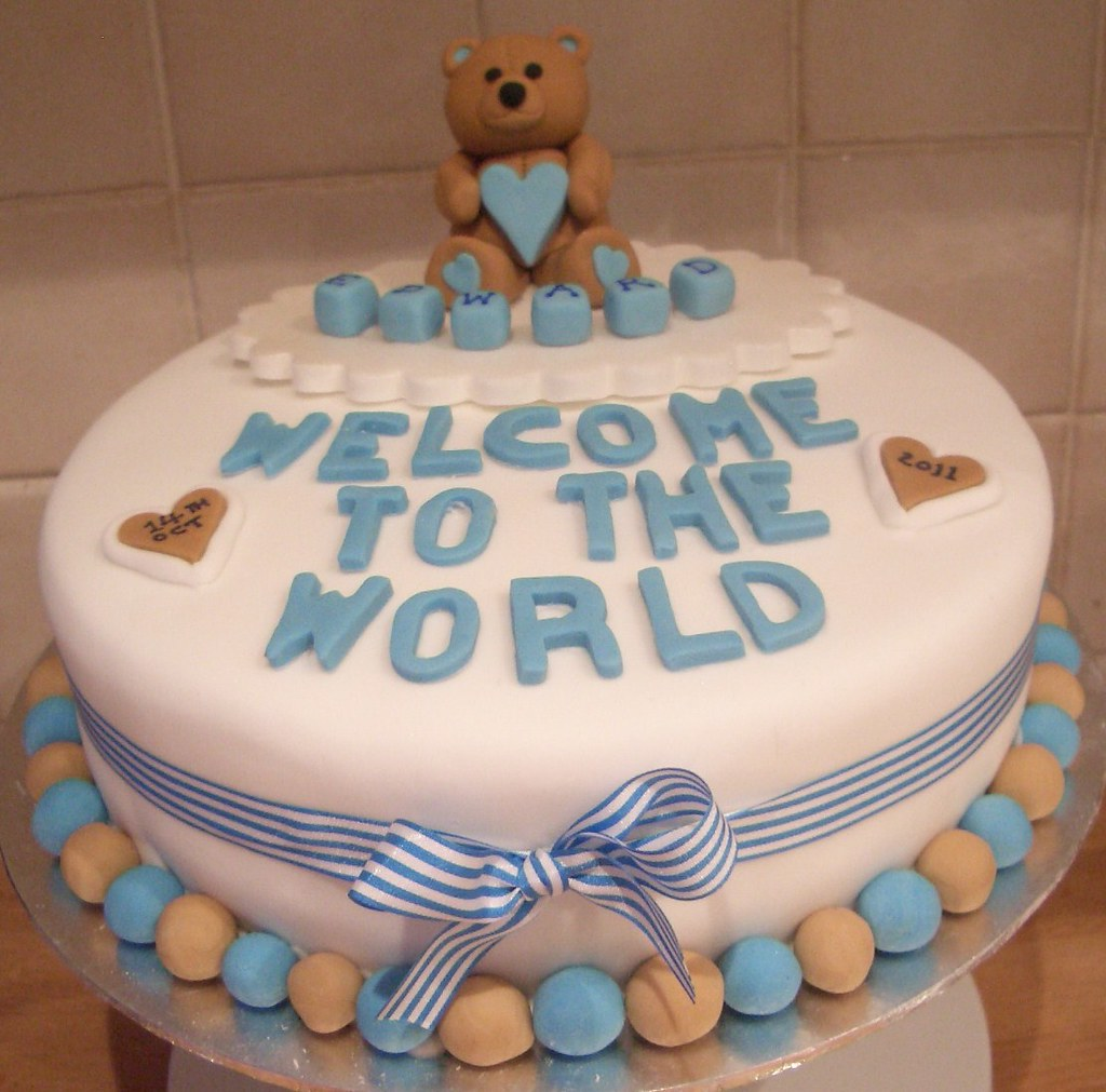 New baby boy 39 welcome to the world 39 cake cath field flickr for Welcome home decorations for baby