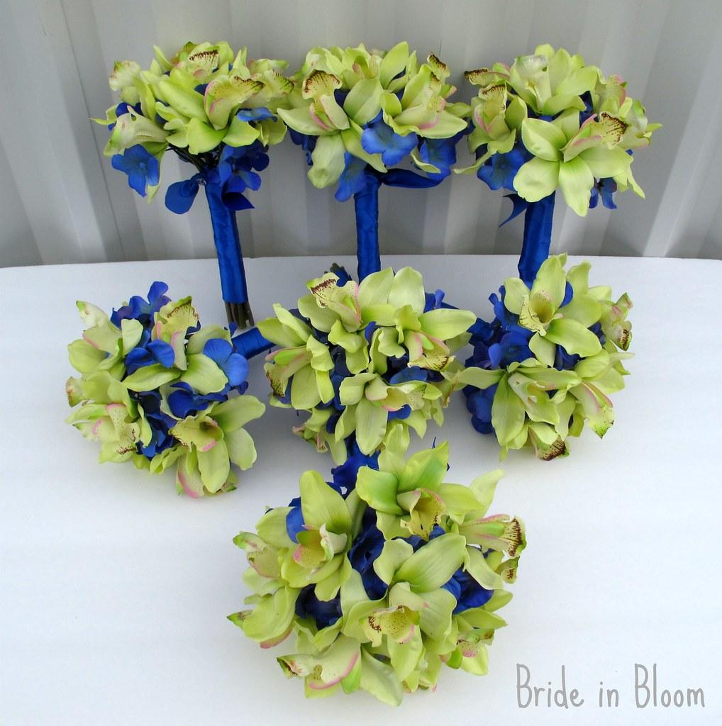 green orchid royal blue wedding bouquets | www.etsy.com/list… | Flickr
