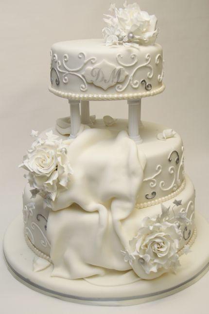 V Klassische Hochzeitstorte Weiss Silber Prunkvoll Hochzeit Flickr