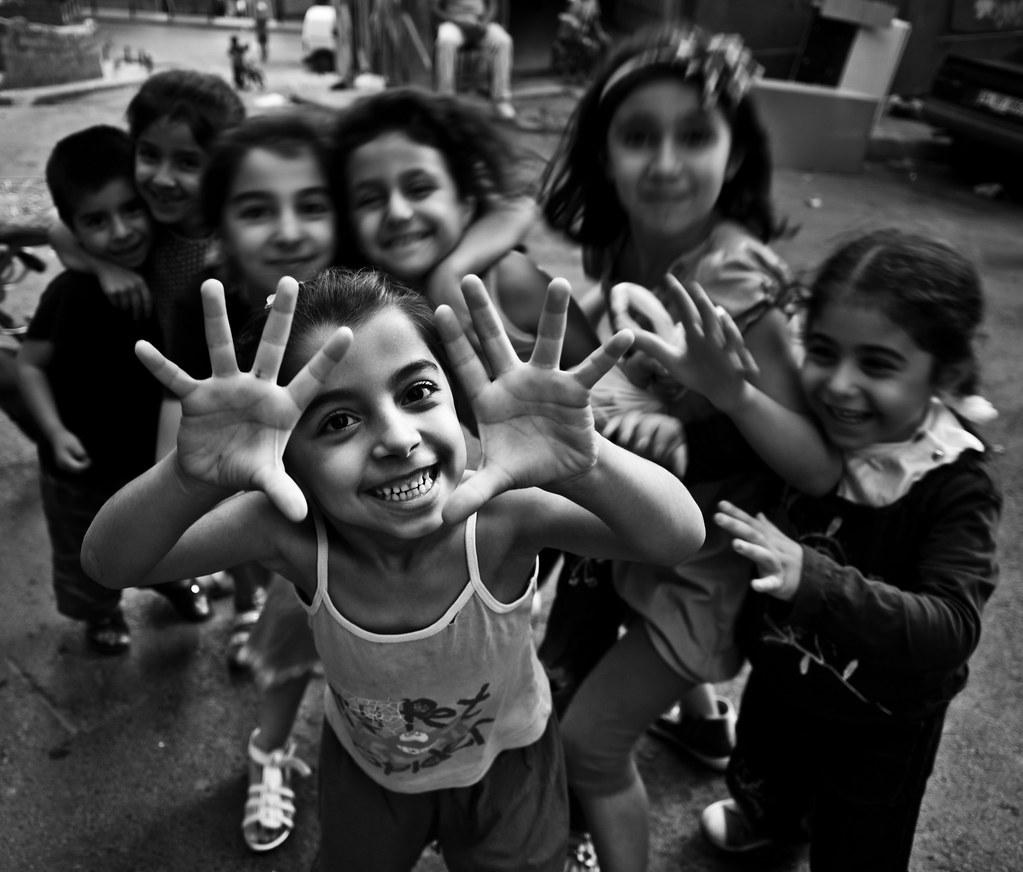 happy kids in the streets of istanbul tarlabaşı istanb