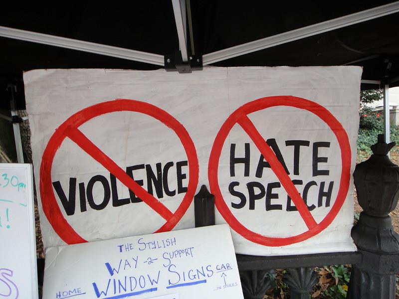 No Violence No Hate Speech John S Quarterman Flickr