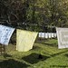 Vintage spring linens on the autumn laundry line 6