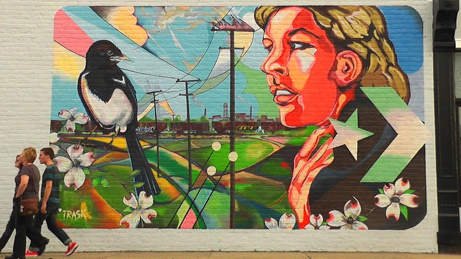 Definition Of Mural Of Trask Peep The Boxcars In The Background Black