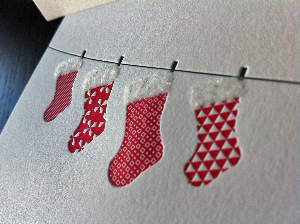 flocking stockings letterpress holiday card by dolcepress - Letterpress Holiday Cards