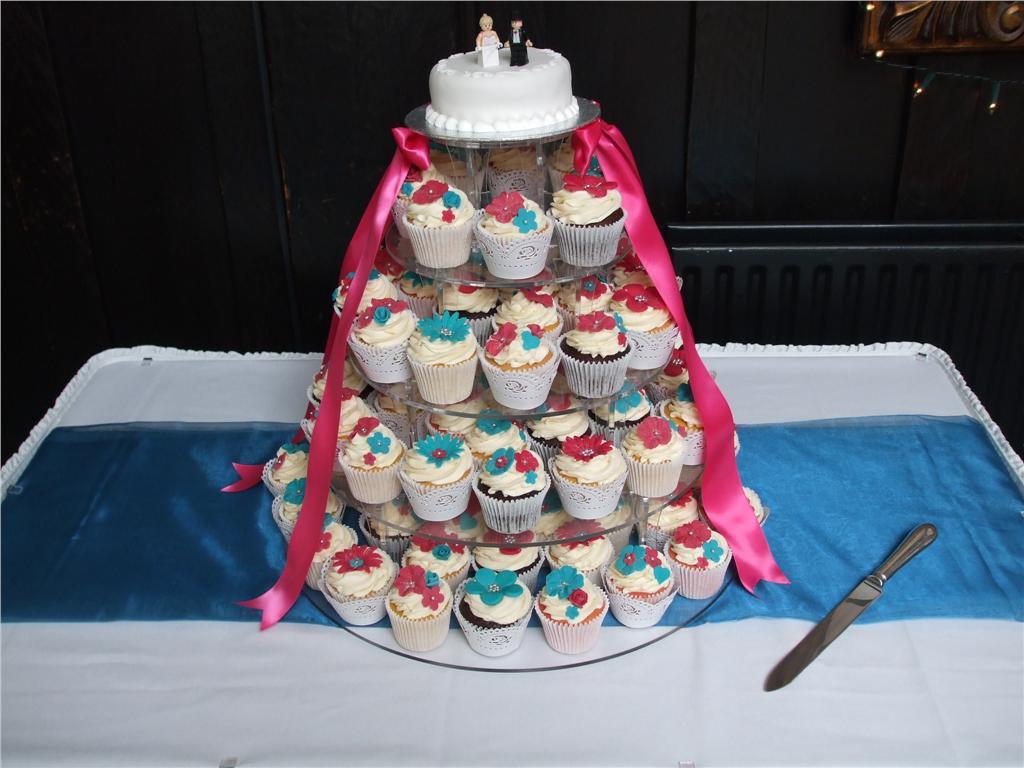 Turquoise Fuchsia Wedding: Turquoise And Pink Wedding Cupcake Tower