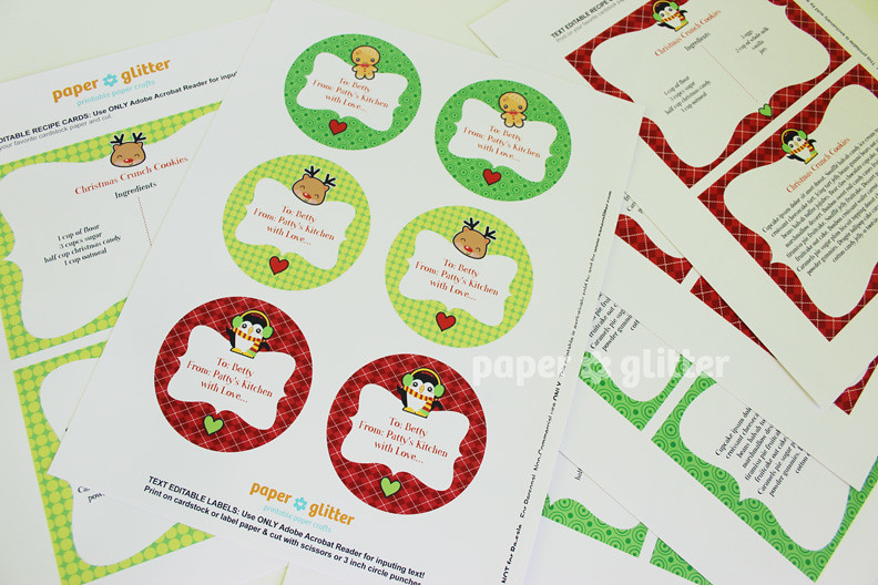 Editable Christmas Labels.Printable And Editable Christmas Recipe Cards And Labels